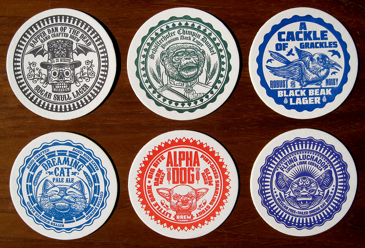 Coaster designs bsaz creates lululemon letterpressed for Creative coasters